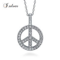 925 Sterling Silver CZ Peace Sign Pendant charms jewelry P50077