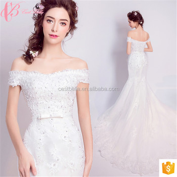 Guangzhou Simple Adjustable Strap Back Bowknot Trumpet Wedding Dresses