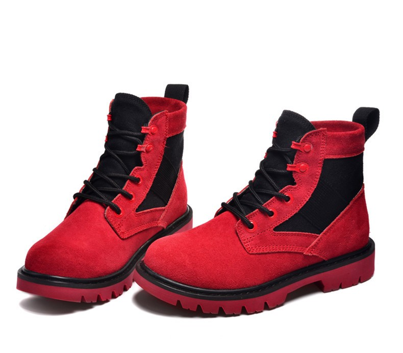 Factory supply red smooth Martins boots lady fashion walking motorcycle boots