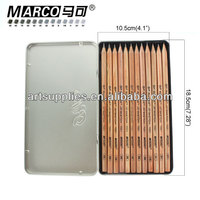 MARCO 7001 wooden body standard sketch pencil, natural color portable drawing pencil in a tin box