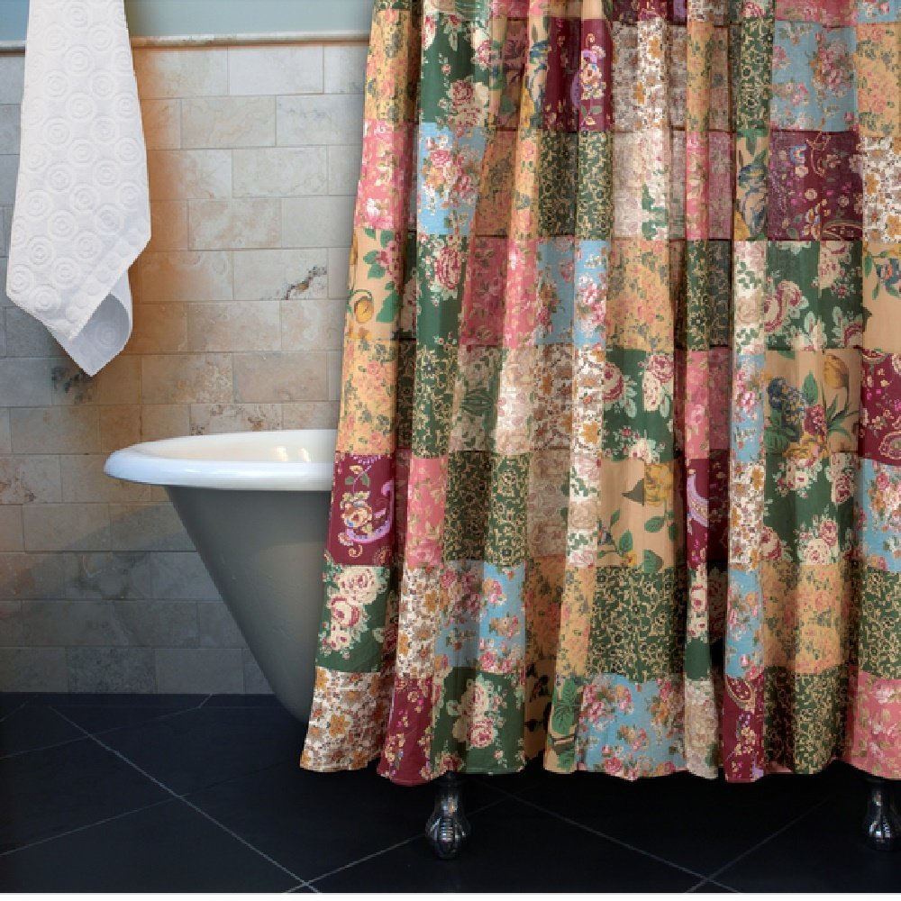 1 Piece Multi Floral Patchwork Shower Curtain All Over Beautiful Flowers Paisley Square