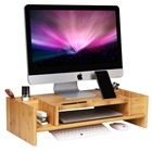 Bamboo 2-Tier Monitor Stand Riser with Adjustable Storage Organizer Laptop Cellphone TV Printer Stand Computer Desk
