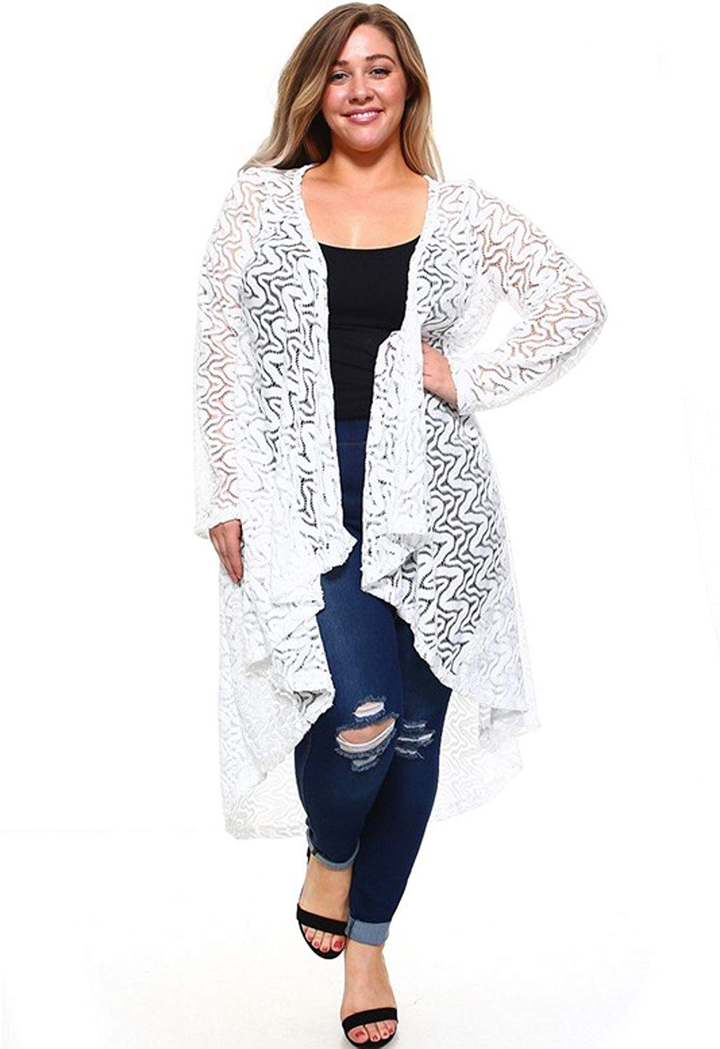92b8e7fa05 Get Quotations · Popular Women s Plus Size Long Lace Open Front Cardigan