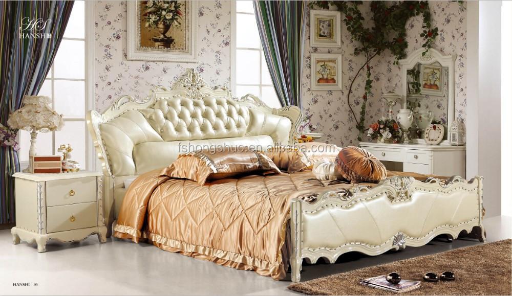 مجموعة غرف نوم الابيض الملكي، صور من أسرة 8063# في الخشب الأسرة
