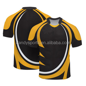 100 Polyester Heavy Weight Black Yellow Rugby Shirt Jersey