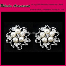 Factory Wholesale flatback rhinestone button shoe clips with pearl for bridal wedding shoe ornaments