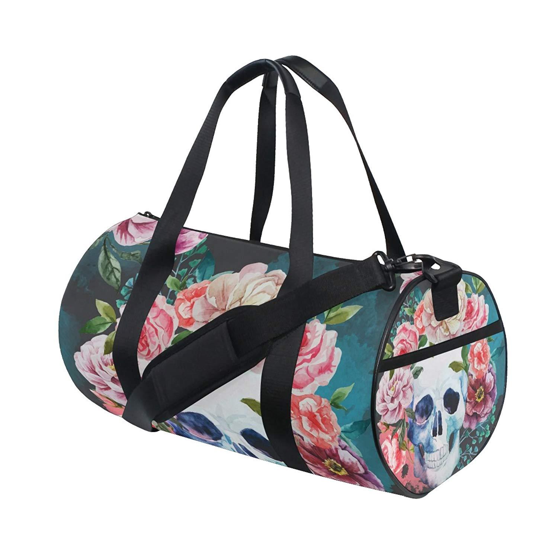 Get Quotations · Nice Watercolor Skull Duffle Bag Sports gym Bag Luggage  Travel Bag with Shoulder Strap for Men e4bdaf0d2