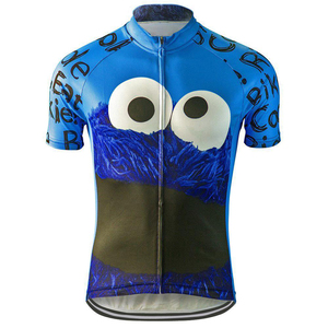 Hot sale breathable cycling jersey men cycling wear blue cartoon polyester cycling jersey