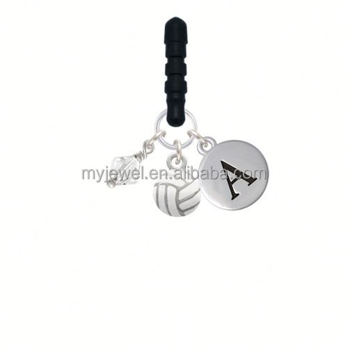 Mini Enamel Volleyball Initial Phone Candy Charm couple phone charms