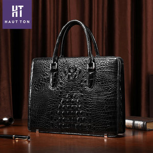 Hautton 2018 New Arrival Pure Crocodile Leather Business Briefcase for men