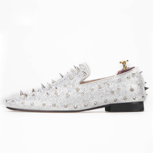 silver men spikes leather casual shoes