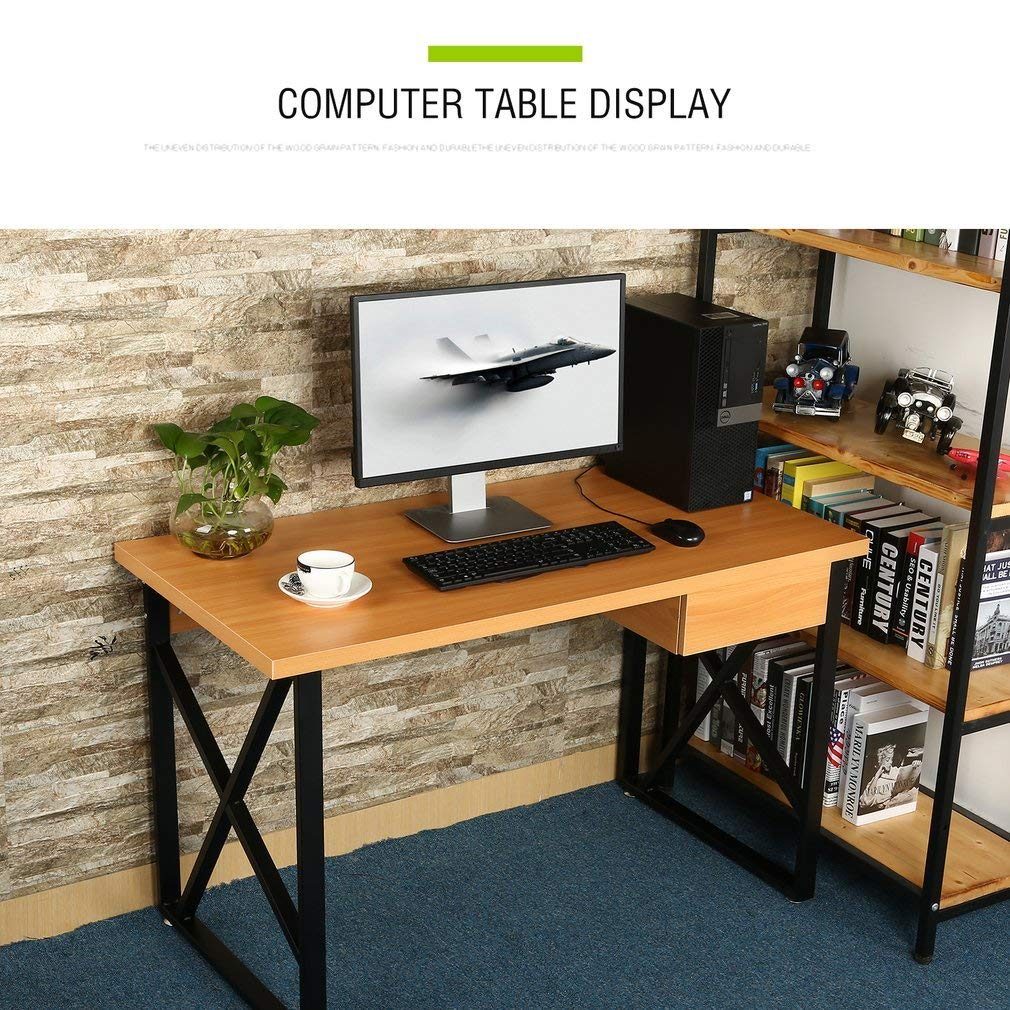 Huldaqueen Computer Desk with Drawer, Environmental-Friendly Laptop PC Table with a Small Storage Drawer, Home Office Business Study Table with Easy Installation