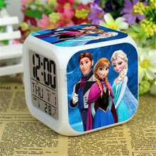 Hot Movie Frozen LED Alarm clock Frozen digital clock 7 Colors Changing Alarm Clock