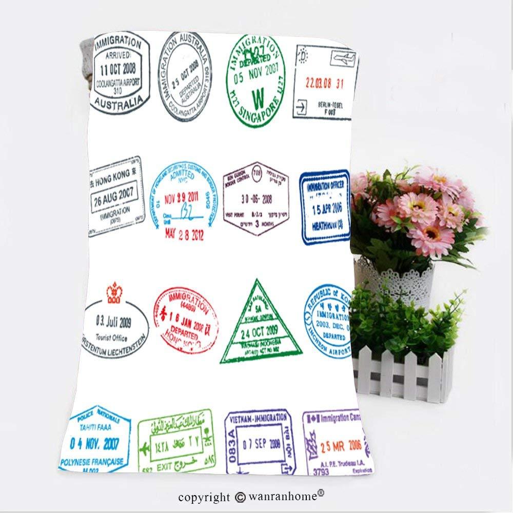 "VROSELV Cotton Microfiber Bathroom Bath Towel-Passport Stamps Illustration_ Custom pattern of household products(11.8""x35.4"")"