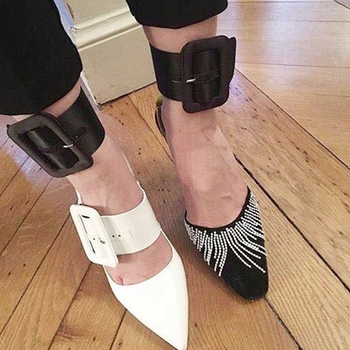 Queena Chic Women Ankle Cuff Straps Leather Buckle Wide Holster