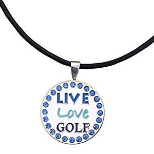 Giggle Golf Bling Live Love Golf Blue Magnetic Ball Marker Necklace