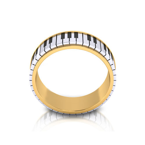 2017 Latest Jewelry 316l Stainless Steel Plated Gold Piano Rings Men S Wedding