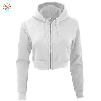 Long Sleeve Hoodie Zip Cropped Hoodie Ladies Jacket Hoodie Women