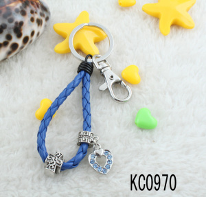 New style colorful leather braided rope keychain,custom alloy bead braided rope keychain