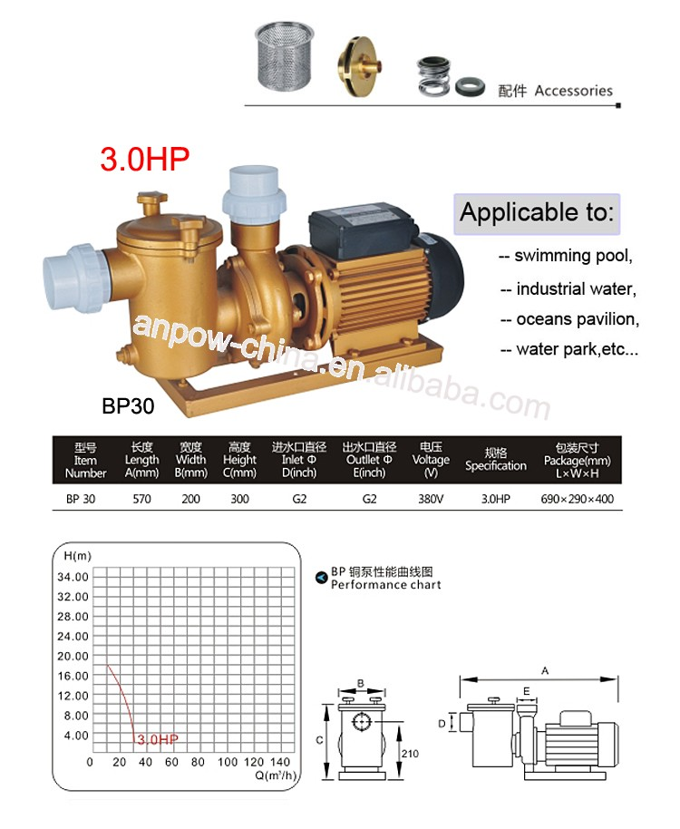 Anpow competitive price 3.0hp 50HZ electric single stage high pressure centrifugal water pump