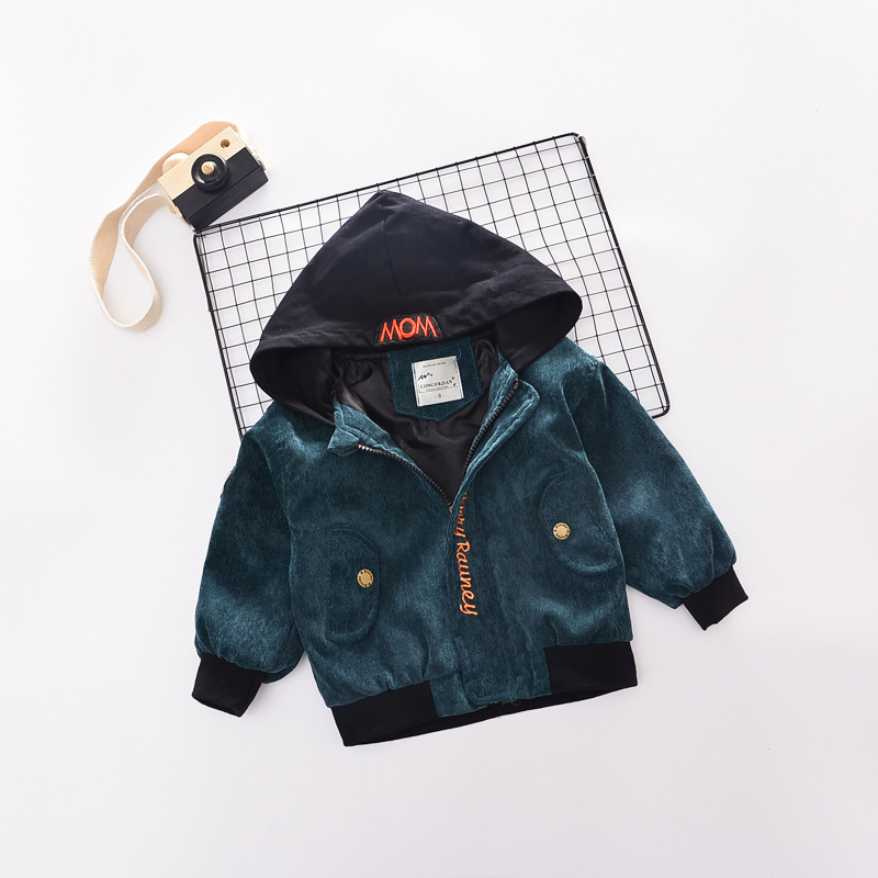B22630A Fall new fashion boys and girls corduroy Hooded Jacket