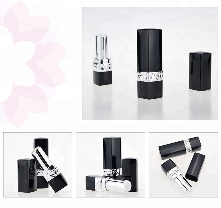Cosmetic plastic empty black lipstick tube square for wholesale