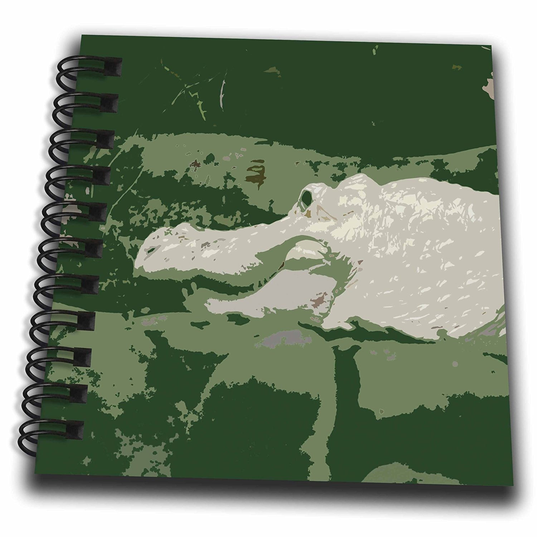 Susans Zoo Crew Animals - albino white alligator graphic green - Mini Notepad 4 x 4 inch (db_178414_3)