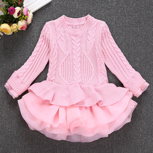 2017 kids autumn sweater dress baby girl false two piece puffy tutu dress