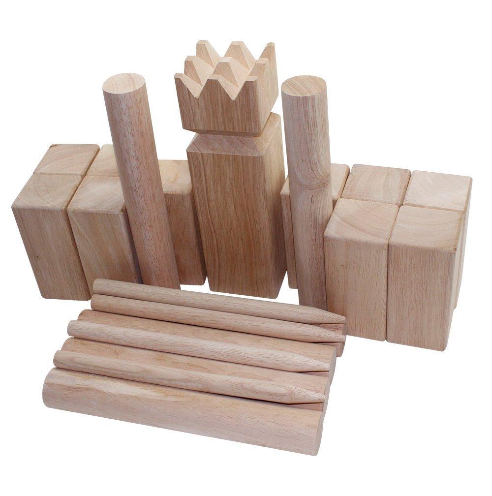 "Fun Sports Viking Kubb Game Set with Carrying Bag - One 3"" x 11.8"" King, Ten 2.3"" x 6"" Kubb Blocks, Six 1.5"" Diameter x 11.8"" Long Batons, Four Corner Markers, Model 3026S"