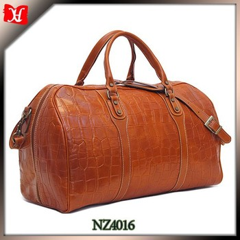 Crocodile Style Leather Duffle Bag Mens Overnight Weekend