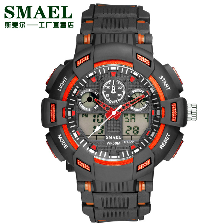 SMAEL 1366 C Man Dual Display Outdoor Mountain 50m Waterproof Sport Electronic Watch Sport Watch For Teenage Gift