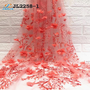 JL2258-1 Good price sale month red color 3d lace applique african wedding net fabric embroidery evening party dress