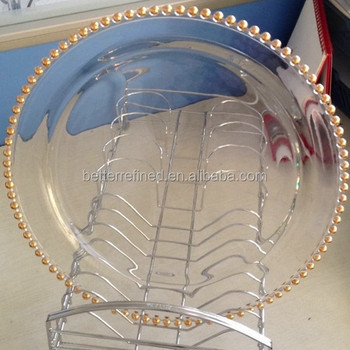 Clear Glass Dinner Plate with Gold Beaded Band & Clear Glass Dinner Plate With Gold Beaded Band - Buy Cheap Glass ...