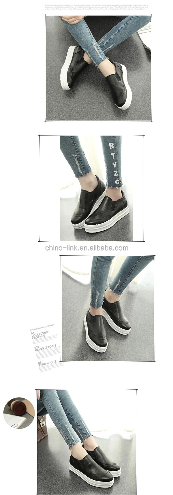 High heel flat sole lady loafer shoes made female shoes