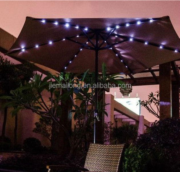 9 Solar Powered Lighted Outdoor Patio Umbrella With Hand Crank