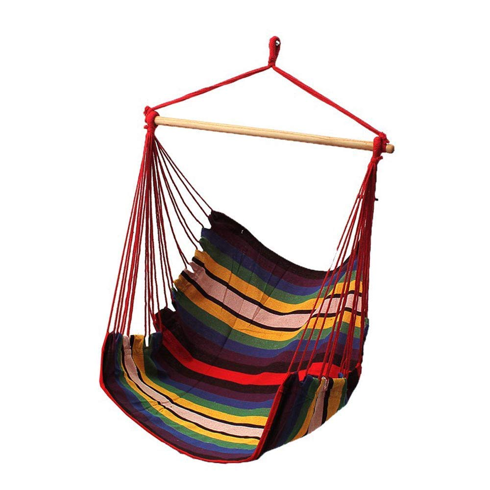 Yard Outdoor 2 Seat Cushions Included Patio Large Hammock Net Chair Swing Porch Garden Red Stripe EverKing Hanging Rope Hammock Chair Porch Swing Seat Cotton Rope Porch Chair for Indoor