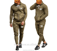Khaki 100% Cotton Fleece Sweat Pants Tapered Mens Tracksuit Bottoms Full Zip up Hoodie Custom design your own tracksuit
