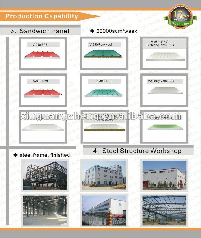 construction design galvanized steel structure warehouse