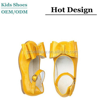 89fabcdd377c Double bow decoration yellow patent leather girls mary jane shoes with  Buckle