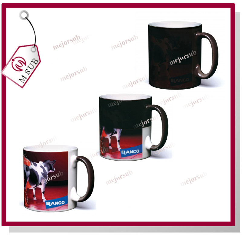 10oz Black Hot Water Temperature Sublimation Color Changing Cup Magic Mug for Photo Printing Sublimation