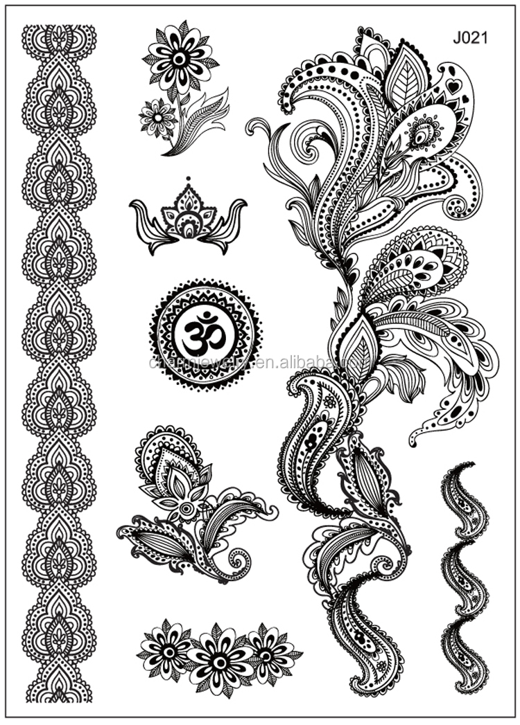 Henna Style Tattoos Lace Tattoo: Newest Design 1pc Black Temporary Flash Henna Lace Tattoos