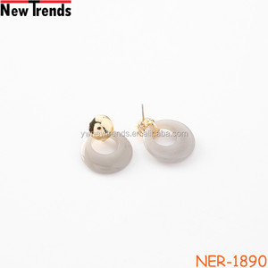 Newest simple round cellulose acrylic earring for lady Japan acetate earring jewely