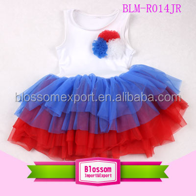 American Independence Day Ruffle 4th Of July Tutu Dress Red White Blue Carnival Patriotic Girls 4th Of July Dress
