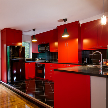 2018 Modern Red Lacquer Kitchen Cabinets With Blum Accessories - Buy ...