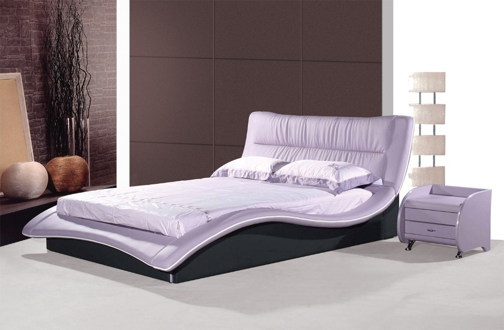 modern luxury white double leather bed with crystals