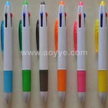 Wholesale promotional cheap office supplies hot selling custom logo gift advertisement plastic three color ink ballpoint pen