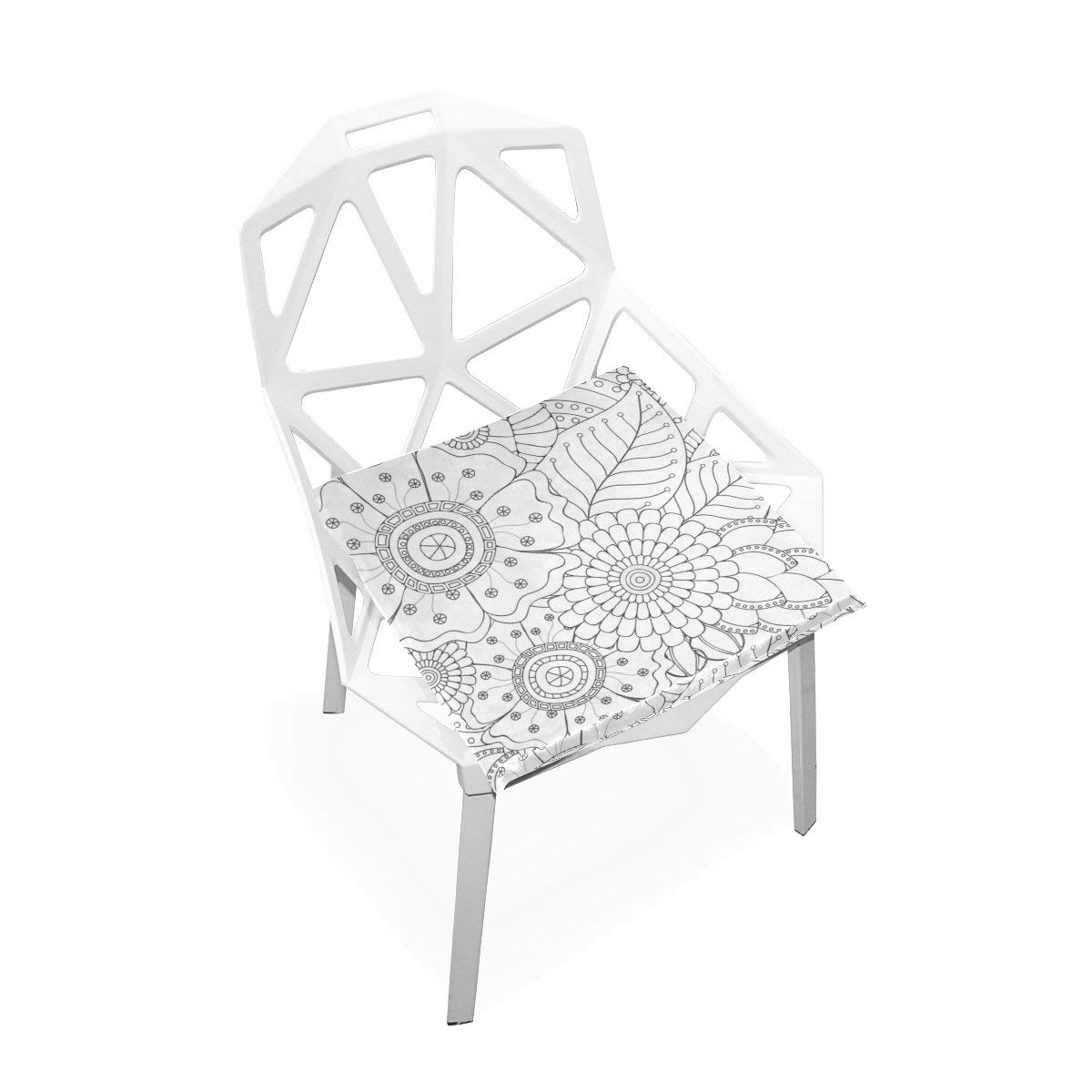 """PLAO Seat Cushion Pad, White Daisy Cushions Seat Nonslip Chair Mats for Car Office Kitchen Chairs 16"""" X 16"""""""