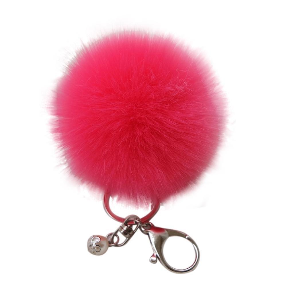 Key Chain,Elevin(TM) New Fashion Faux Rabbit Fur Ball Keychain Bag Plush Car Key Ring Car Key Pendant (Watermelon)