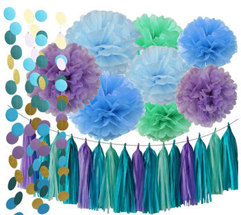 Under The Sea Party Supplies Mermaid Decorations Teal Purple Blue Mint Tissue Pom Poms First Birthday Decorations Buy Mermaid Decorations Teal