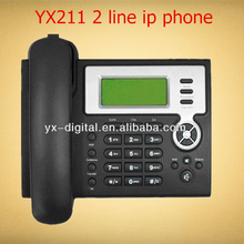 VOIP IP Phone YX211 asterisk 2 line telephone black color 2 sip voip telephone